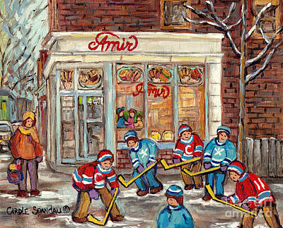 Painting - Restaurant Amir Verdun Montreal Winter Scene Painting Canadian City Scene C Spandau Hockey Artist by Carole Spandau