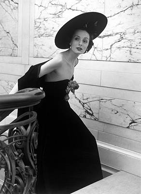 Photograph - Restaurant Fashions Cartwheel Hat by Nina Leen