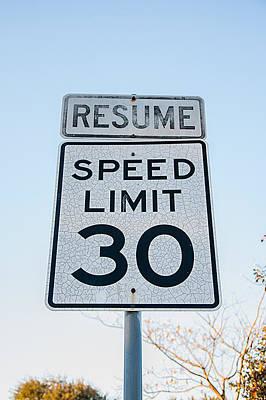 Photograph - Street Sign Speed by Krysten Brown