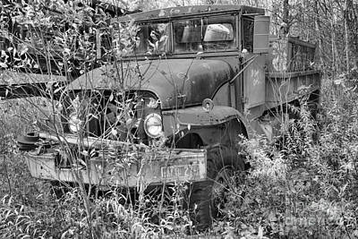 Photograph - Retired Fire Tanker Black And White by Adam Jewell