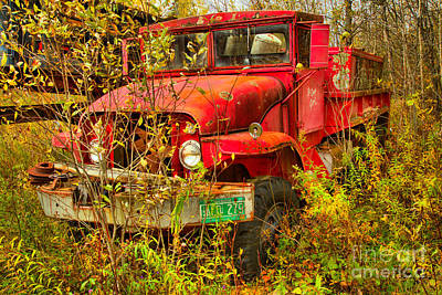 Photograph - Retired Red Fire Truck by Adam Jewell
