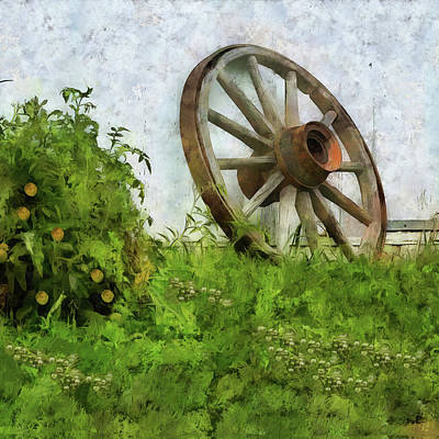Digital Art - Retired Wagon Wheel  by Leslie Montgomery