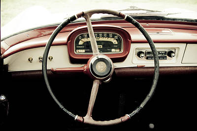 Photograph - Retro Car Driving Wheel by Malhrovitz