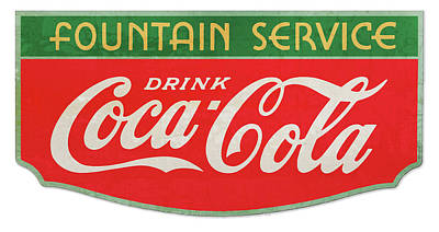 Drawings Royalty Free Images - Retro Coke Sign Royalty-Free Image by Greg Joens