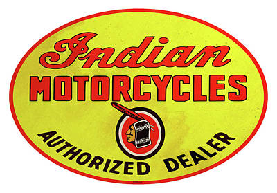 Digital Art - Retro Indian Motorcycles by Greg Joens