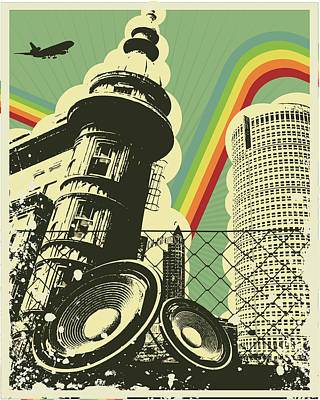 Digital Art - Retro Music Town by Sengerg