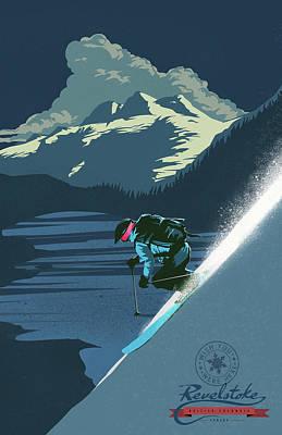 Skiing Painting - Retro Revelstoke Ski Poster by Sassan Filsoof
