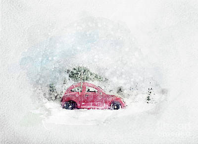Photograph - Retro Toy Car Carrying Tiny Christmas Tree. Watercolor. by Michal Bednarek