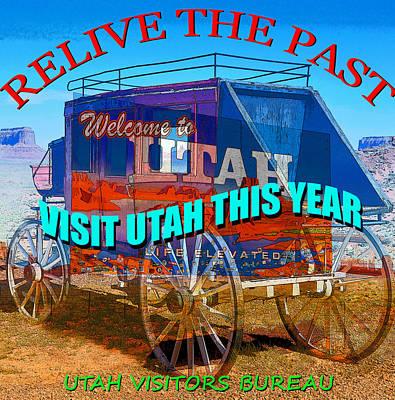 Western Art Mixed Media - Retro Utah Travel Poster by David Lee Thompson