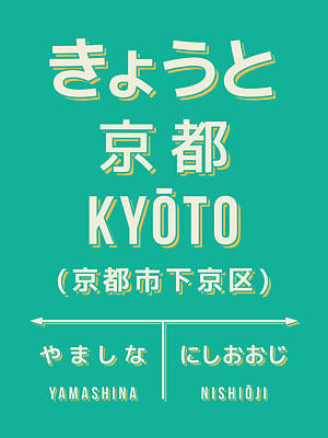 Retro Vintage Japan Train Station Sign - Kyoto Green Art Print