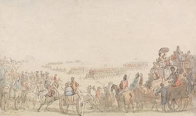 Drawing - Review Of Light Horse Volunteers On Wimbledon Common by Thomas Rowlandson
