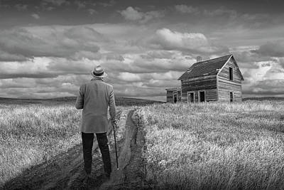 Photograph - Revisiting The Old Homestead In Black And White by Randall Nyhof
