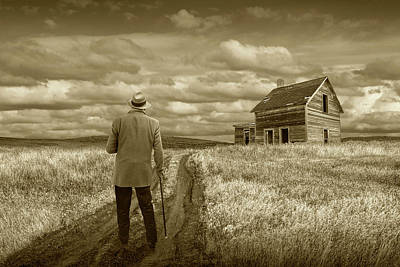 Photograph - Revisiting The Old Homestead In Sepia Tone by Randall Nyhof