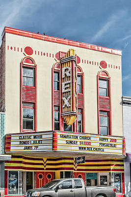 Photograph - Rex Theatre Marquee by Sharon Popek