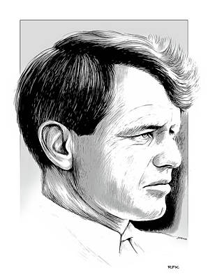 States As License Plates - RFK line art by Greg Joens