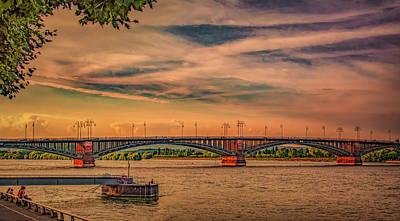 Global Design Shibori Inspired - Rhine River Sunset in Mainz by Marcy Wielfaert
