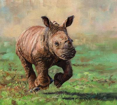 Painting - Rhino Calf by David Stribbling