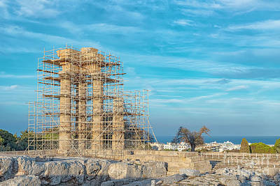 Christmas Christopher And Amanda Elwell Rights Managed Images - Rhodes Acropolis Outside Town Royalty-Free Image by Antony McAulay