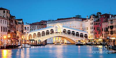 Photograph - Rialto Bridge Panoramic At Dusk, Venice by Matteo Colombo