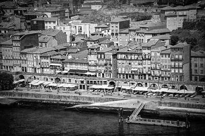 Porto Wall Art - Photograph - Ribeira Waterfront Porto Portugal Black And White  by Carol Japp