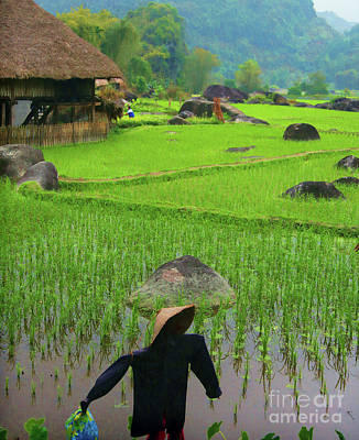 Photograph - Rice Fields Vietnam Scarecrow Green  by Chuck Kuhn