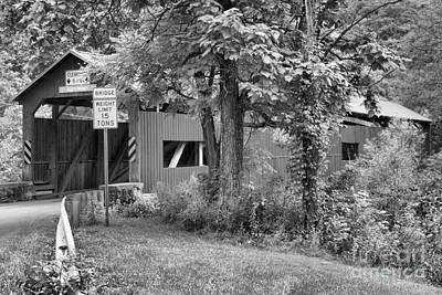 Photograph - Rice's Covered Bridge Black And White by Adam Jewell