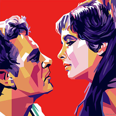 Colorful Button - Richard Burton and Elizabeth Taylor by Stars on Art