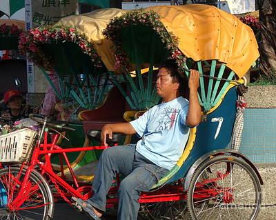 Photograph - Rickshaw Driver In Taiwan Takes A Nap by Yali Shi