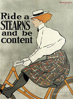 Drawing - Ride A Stearns And Be Content, Circa 1896 by Edward Penfield
