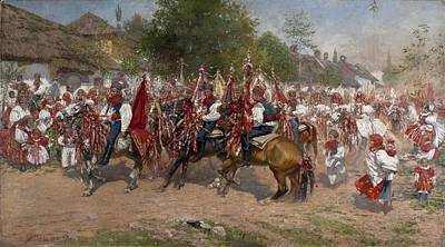 Sports Paintings - Ride of Kings,  uprka, Joza by Celestial Images
