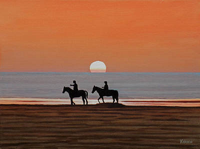 Painting - Riding Sunset Beach by Kenneth Kirsch