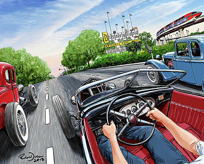Hot Rod Wall Art - Digital Art - Riff Raff Race 6 by Ruben Duran