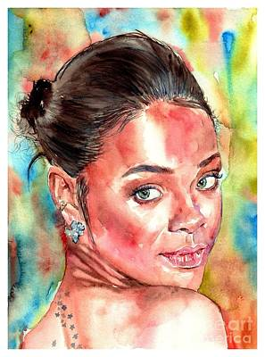 Harvard Wall Art - Painting - Rihanna Portrait by Suzann's Art