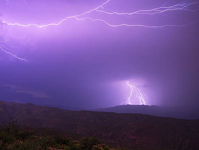 Royalty-Free and Rights-Managed Images - Rincon Mountains Lightning Storm by Chance Kafka