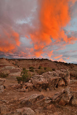 Photograph - Rising Flames In The Sky Above Bentonite Site by Ray Mathis