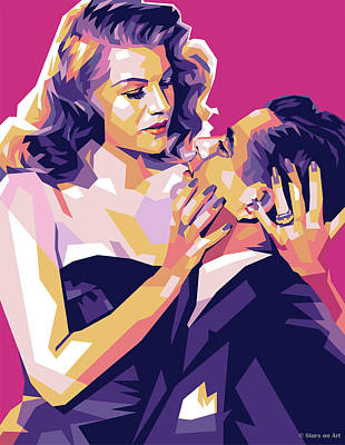 Curated Bath Towels - Rita Hayworth and Glenn Ford by Stars on Art