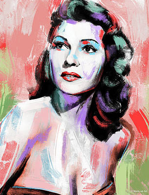 Wine Down Royalty Free Images - Rita Hayworth painting Royalty-Free Image by Stars on Art