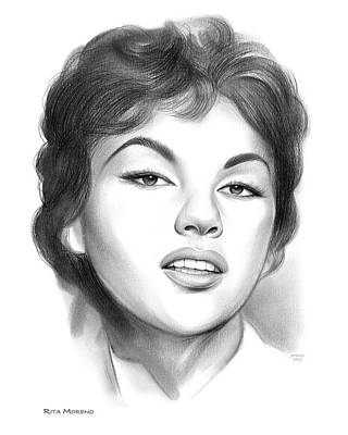 Drawings Royalty Free Images - Rita Moreno Royalty-Free Image by Greg Joens