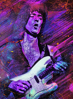 Musicians Mixed Media Royalty Free Images - Ritchie Blackmore Royalty-Free Image by Mal Bray