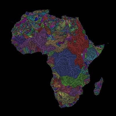 Watercolor Butterflies - River basins of Africa in rainbow colours by Grasshopper Geography
