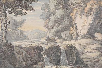 Drawing - River Landscape With A Waterfall by Thomas Rowlandson