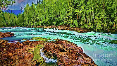 Painting -  River Rapids A18-23 by Ray Shrewsberry