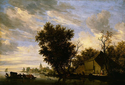 Painting - River Scene With Ferry Boat by Salomon van Ruysdael