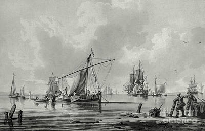 Drawing - River With Shipping, 18th Century by John the Younger Cleveley