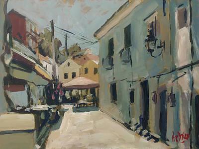 Painting - Road Along O Gios Taverna Loggos by Nop Briex