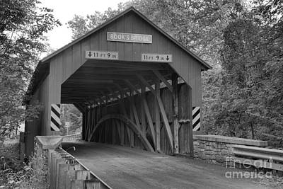 Photograph - Road Through The Books Covered Bridge Black And White by Adam Jewell