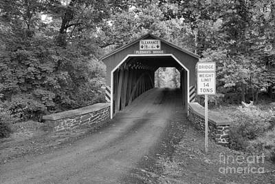 Photograph - Road Through The Fleisher Covered Bridge Black And White by Adam Jewell