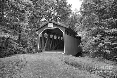 Photograph - Road To Clay's Covered Bridge Black And White by Adam Jewell