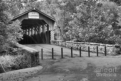 Photograph - Road To The Academia Covered Bridge Black And White by Adam Jewell