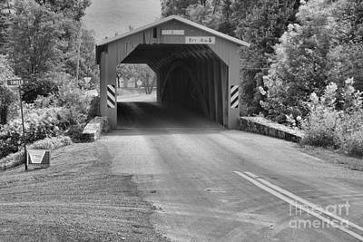 Photograph - Road To The Adair Covered Bridge Black And White by Adam Jewell